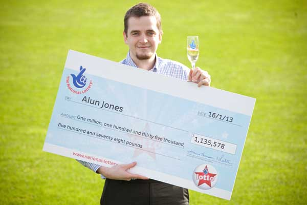 Alun Jones, from Caerphilly who won a £1,135,578 Lotto Jackpot prize for the draw.