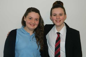 Lewis Girls School pupil Katie Phillips and duet partner Anya O'Callaghan