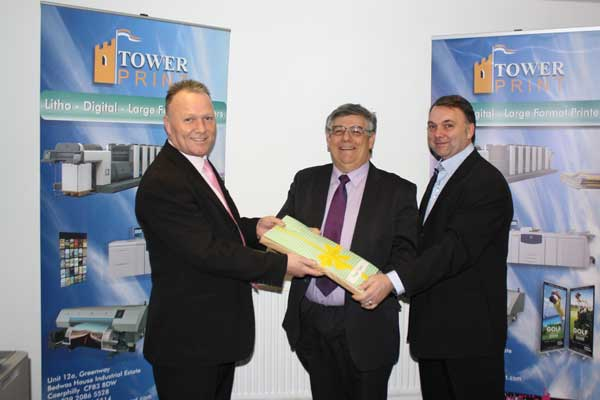 (L-R) Darren Pole, managing director Tower Print, Cllr Ken James, Paul Pole, director Tower Print