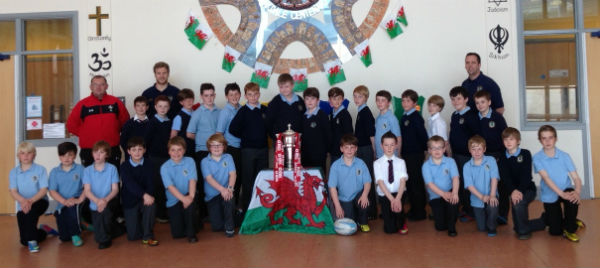 The Six Nations trophy has been displayed at schools across Caerphilly County Borough