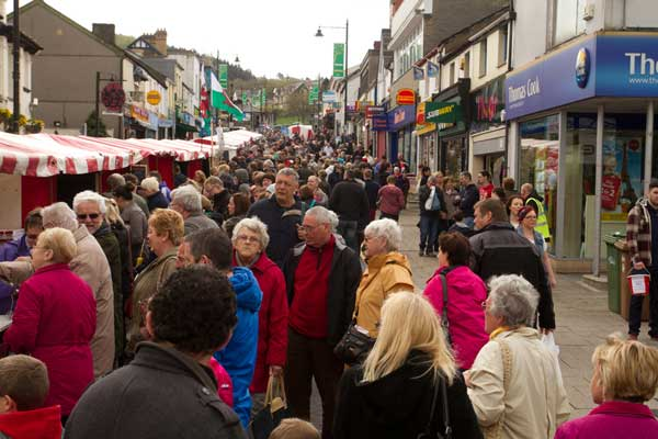 Caerphilly's Cardiff Road was crammed with visitors to the town's second food festival