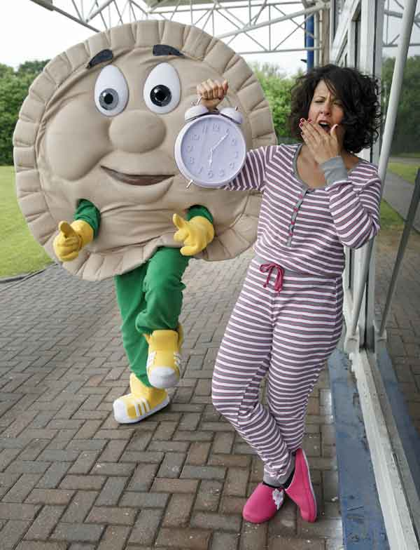 Pete the Pie with Peter's Pies marketing director Clare Morgan