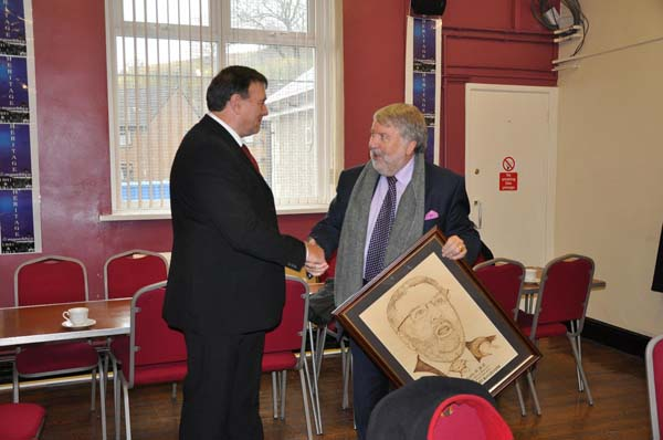 THANK YOU: Roy Noble is presented with his pyrography