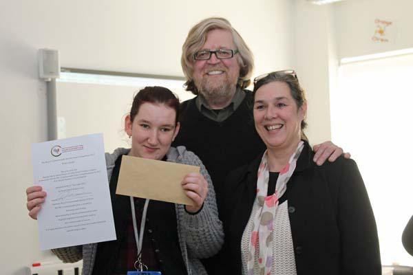 (L-R) Patron of RCS Wales Kirsten Jones, Coleg Gwent student Danielle Oak, Patron of RCS Wales Boyd Clack.