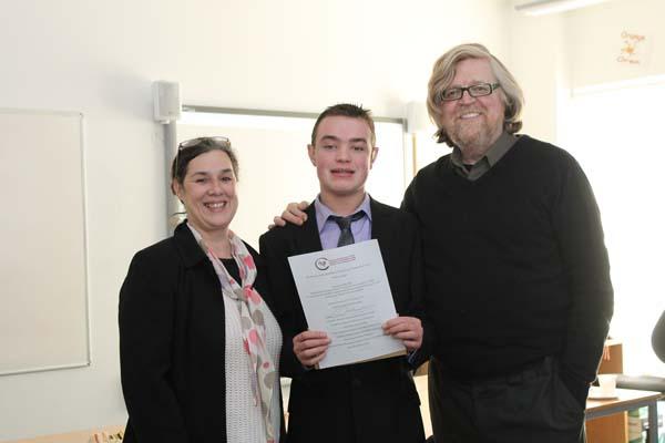 (L-R) Patron of RCS Wales Kirsten Jones, Coleg Gwent student Samuel Preece, Patron of RCS Wales Boyd Clack.