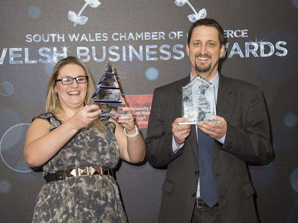 WINNERS: SERS' Amy Skerratt and Andrew Dunn with their two awards