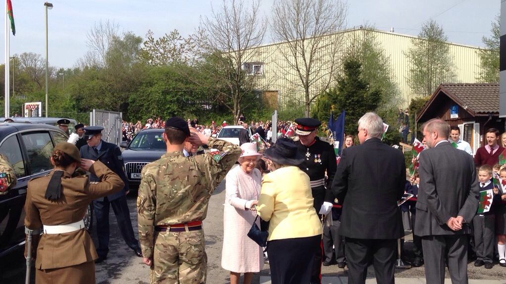 Her Majesty The Queen arrives at International Greetings UK LTD in Ystrad Mynach