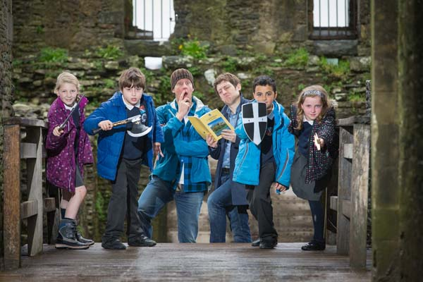 Caerphilly Castle is hosting the launch of the new Cadw Time Travel campaign with the help of Chris Corcoran, Elis James and children from Ysgol y Castell; Kacey Powell 8, Aneurin Thomas 9, Jamaine Ford 9 and Brooke Harper 8. © Cadw, Welsh Assembly Government (Crown Copyright), all rights reserved.