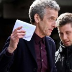 Doctor Who: Peter Capaldi on set at Caerphilly Castle.