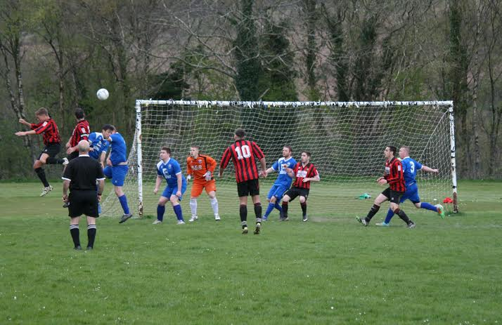 Ben Banks scores for Nelson Cavaliers from a Lewis Roberts long throw