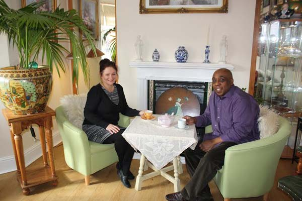 HOME SWEET HOME: Cheryl and Bryn relax in the Front Room Café