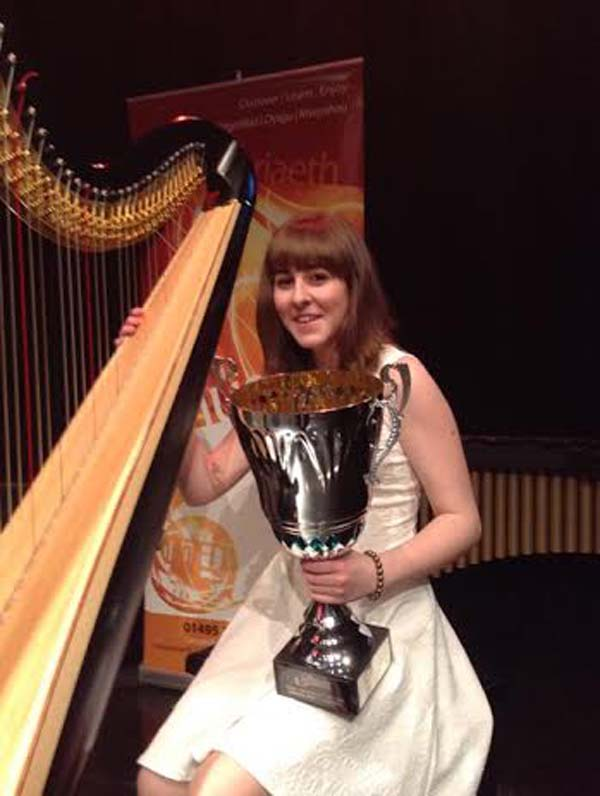Harpist Eluned Hollyman won Caerphilly Young Musician of the Year