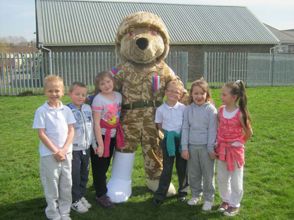 Pupils from Tyn-Y-Wern Primary School on their charity walk for Help for Heroes and Combat Stress