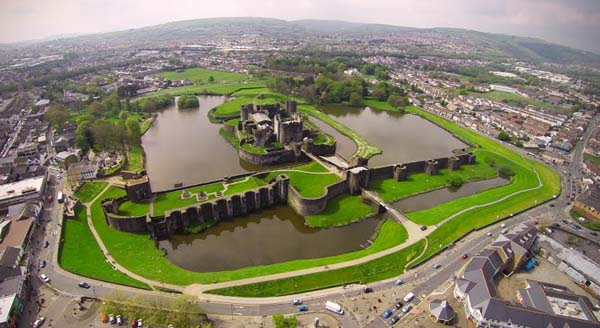 DONT CROSS THE MOAT: Caerphilly Castle is open but visitors are warned to keep dogs and children away from the water