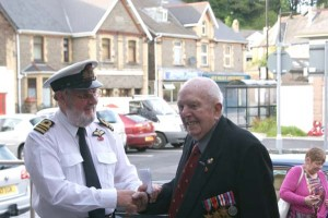HERO OF OUR PAST: Brian Evans greets D-Day veteran Roy Morton, soldier 14342396