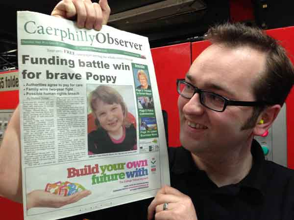 Caerphilly Observer editor Richard Gurner with a copy of our first edition hot off the press.
