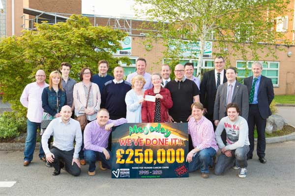 Volunteers and organisers of Megaday with their £250,000 cheque