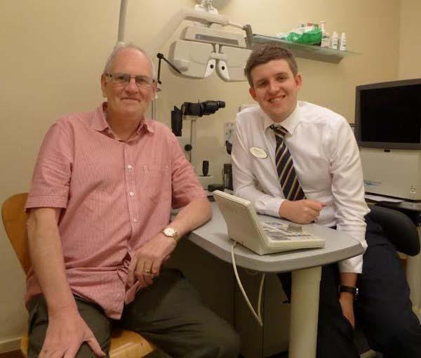 THANKFUL: Brain tumour patient Leslie Digby and optician Geraint Jones