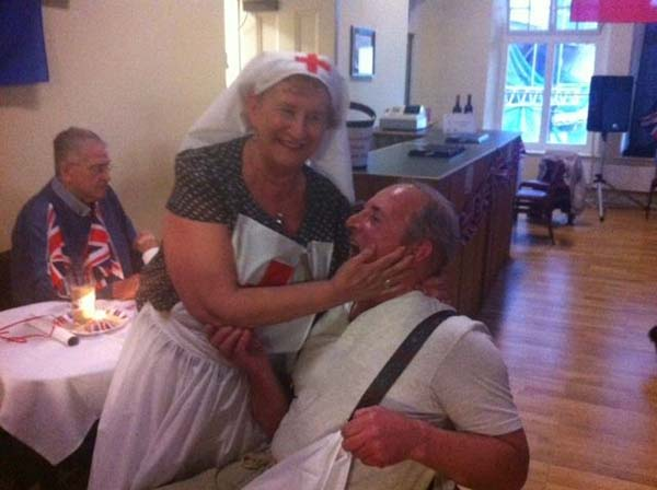 COURTING: A nurse and soldier in the 1940s spirit