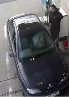 Police are looking for this man in connection with two fuel thefts in Ystrad Mynach and Gilfach