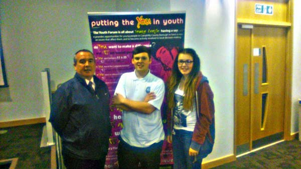 AWARENESS: Cllr Mike Prew with Youth Forum Chair Joel Price and Vice Chair Sophie Jones