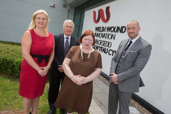 Jacqui Fletcher, Clinical Strategy Director at Welsh Wound Innovation Centre, Professor Keith Harding CBE, Dean of Clinical Innovation at Cardiff University, Edwina Hart, Minister for Economy, Science and Transport and Graham Ewart, Managing Director of Direct Healthcare Services.