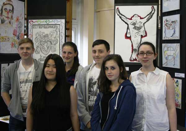 Bedwas High School pupils Rhys Carter, Siyu Long, Sophie Bignell, Joshua Tilley, Sarah Adlington and Stephanie Bowkett