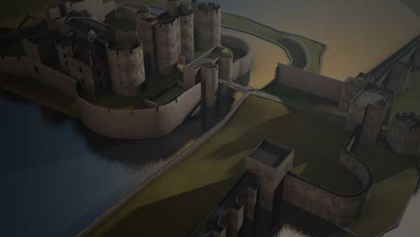 Caerphilly Castle has been recreated using CGI