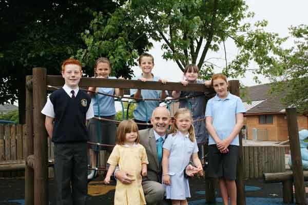 GOOD WORK: Rhiw Syr Dafydd pupils with headteacher Mike Glavin