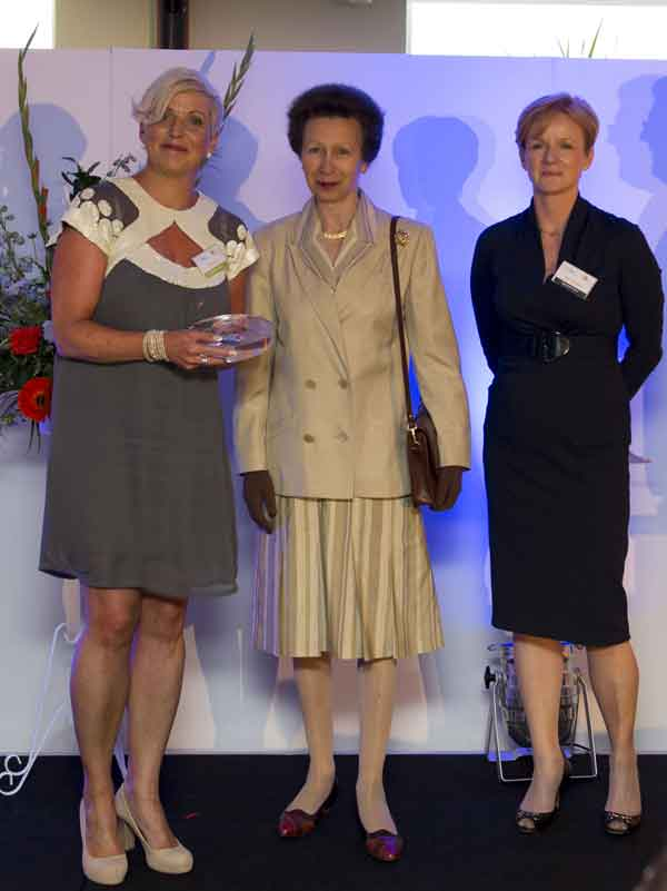 JUST REWARD: Cath Jones with Princess Anne and NewLaw's Helen Molyneux