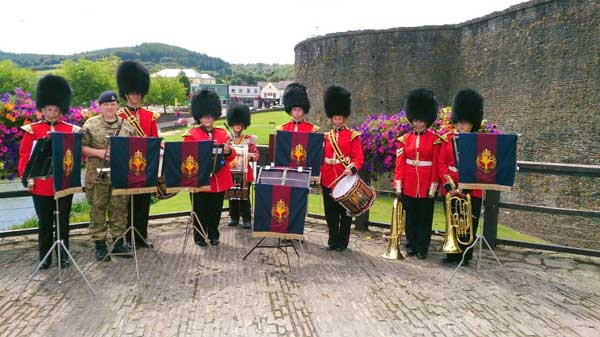 The Band and Drums of Gwent and Powys Army Cadet Force took part in the World War One commemorations at Caerphilly Castle. The Band, headed up by Second Lieutenant Lowri Evans, performed war time classics.