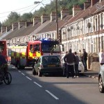 Firefighters at the scene of the bus crash in Llanbradach
