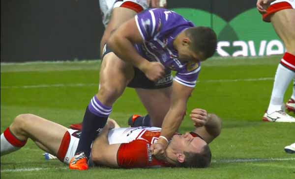 FLOWER POWER: Ben Flower with a dazed Lance Hohaia. Picture from Sky Sports