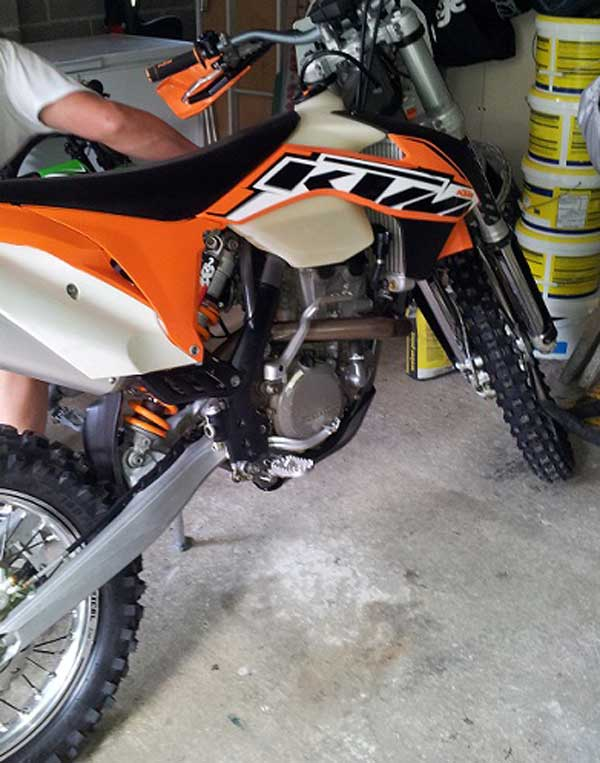 One of the motorbikes that were stolen from a garage in Aberbargoed on October 20