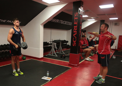 Scarlets players working out in the refurbished gym