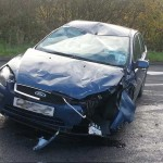 One of the cars that crashed on Caerphilly Mountain Road