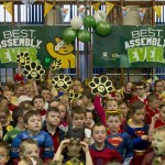 "SCHOOL FUN: The pupils at the ""Best Assembly Ever"""