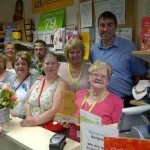 CHARITY SERVICE: Valerie with other Barnardo's shop workers in Bargoed
