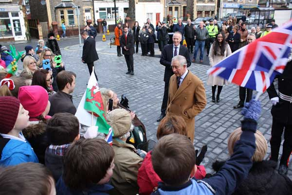 The Prince of Wales was greeted by around 400 people in Newbridge