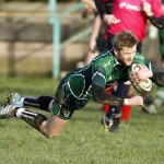 Lloyd Rowlands goes over for Caerphilly