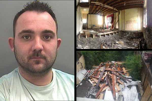 JAILED: Lee Slocombe and some of the devastation he caused