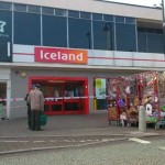 CLOSED: The scene outside Iceland on Cardifff Road in Caerphilly town this morning