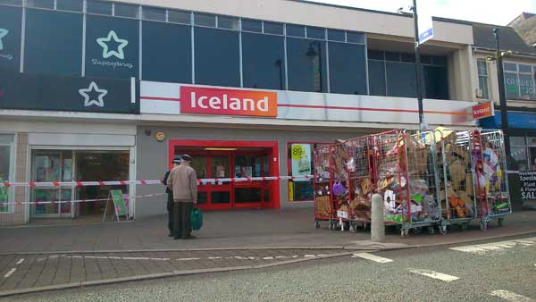 CLOSED: The scene outside Iceland on Cardifff Road after the robbery on March 30