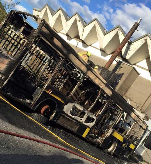 The burnt out bus outside the Aneurin Sports Bar in Penyrheol