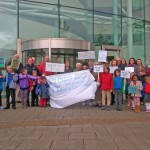 GREEN RAGE: Protesters against the park and ride outside Caerphilly Council's offices