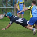 TRY: Bridgend Blue Bulls' Dai Griggs goes over for a try