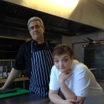 LEARNING: The Harp Inn's chef Mustapha El-Malali with new apprentice Donna Day