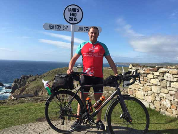 GEARED UP: Andrew Parry sets out from Land's End