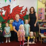 THANKS: Luc Jones and Maria Chapman celebrate with the children