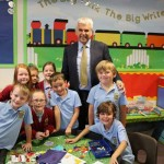 FAREWELL: Mr Jenkins with some of his pupils